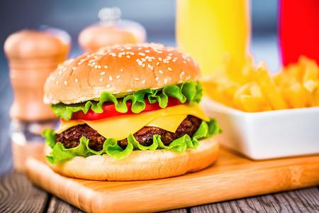 burgers: Tasty and appetizing hamburger cheeseburger Stock Photo