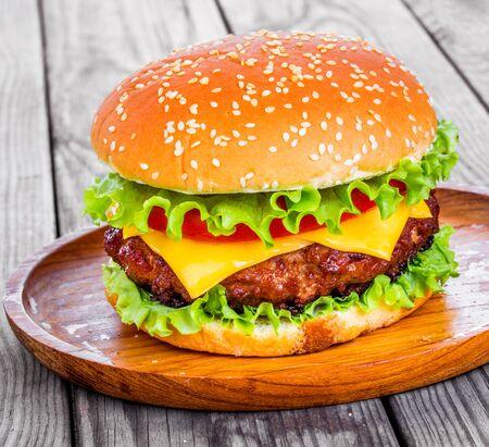 sesame street: Tasty and appetizing hamburger cheeseburger Stock Photo