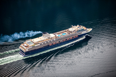 cruise liner: Cruise Ship, Cruise Liners On Hardanger fjorden, Norway Stock Photo