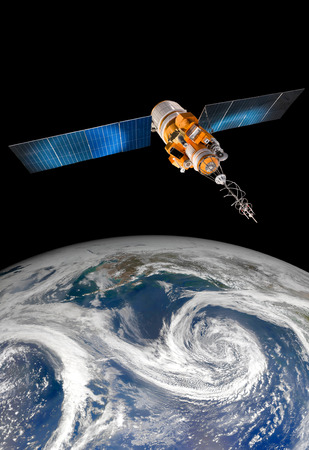 satellite: Space satellite orbiting the earth. Elements of this image furnished by NASA. Stock Photo