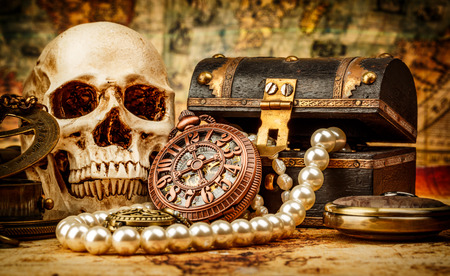 treasure: Vintage grunge still life. Vintage items on ancient map. Stock Photo