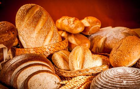 bread: Fresh Assortment of baked bread