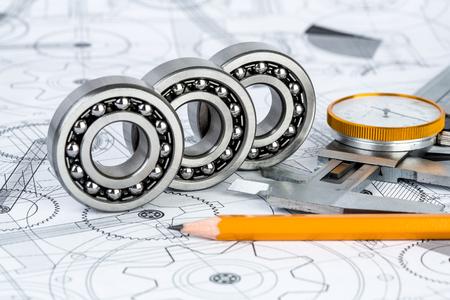 Technische Zeichnungen mit den Kugellager Standard-Bild - 44963909