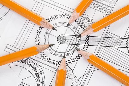 compas de dibujo: Dibujo detalle y lápiz de cerca