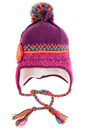 knit: Childrens winter hat isolated on a white background.