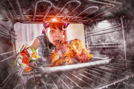 Grappige huisvrouw over het hoofd gezien gebraden kip in de oven, dus ze had (focus op kip) verschroeid, uitzicht vanaf de binnenkant van de oven. Huisvrouw verbijsterd en boos. Verliezer is het lot! Thanksgiving Day. Stockfoto