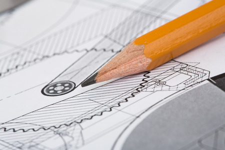 engineering design: Drawing detail and pencil close-up Stock Photo