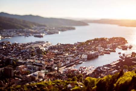 tilt: View on Bergen Norway. Tilt shift lens. Stock Photo