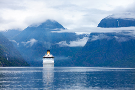 cruise: Cruise Ship, Cruise Liners On Hardanger fjorden, Norway Stock Photo