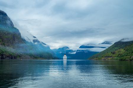 hardanger: Cruise Ship, Cruise Liners On Hardanger fjorden, Norway Stock Photo