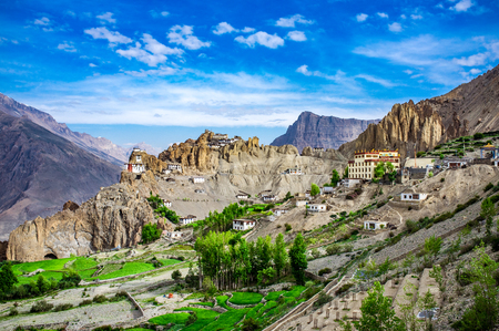 valley of the temples: Dhankar gompa. Spiti Valley, Himachal Pradesh, India Stock Photo