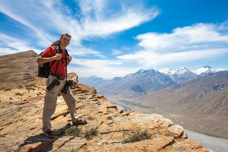 himalaya: Nature photographer in Himalayas mountains. Spiti valley, Himachal Pradesh, India
