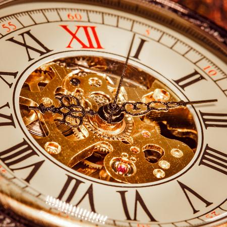 past midnight: Antique clock dial close-up. Vintage pocket watch.