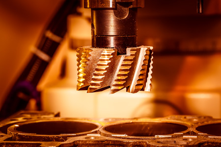 metal processing: Metalworking CNC milling machine. Cutting metal modern processing technology. Stock Photo