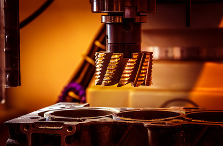 steel mill: Metalworking CNC milling machine. Cutting metal modern processing technology. Stock Photo