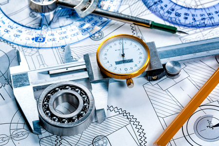 Technical drawing and tools Stock Photo