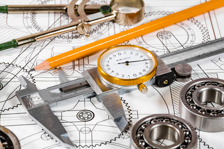 Technical drawing and tools Banco de Imagens