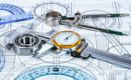 Technical drawing and tools Foto de archivo