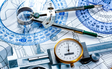 delineation: Technical drawing and tools Stock Photo