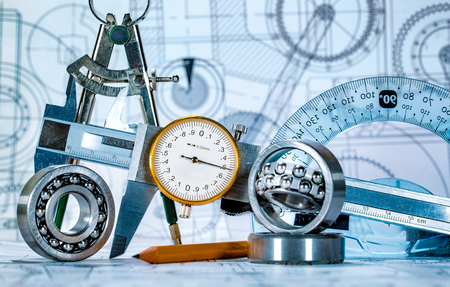 plot: Technical drawing and tools Stock Photo