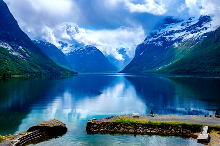 fiord: Beautiful Nature Norway natural landscape.