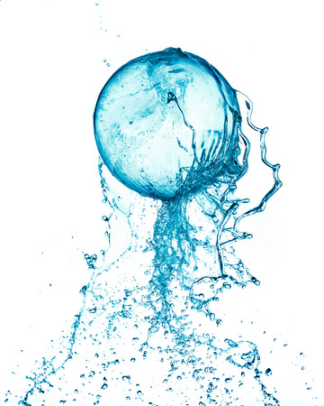 Abstract water ball splash isolated on white background. Stock Photo