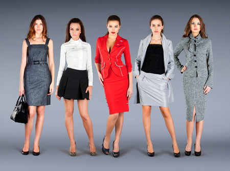 Five girls in spring summer collection clothes