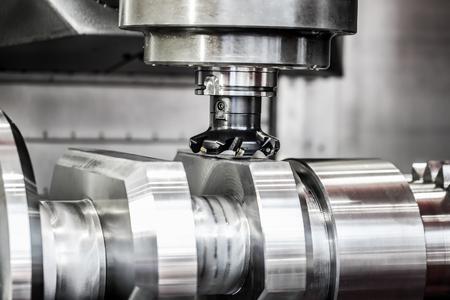 Metalworking CNC milling machine. Cutting metal modern processing technology. Standard-Bild