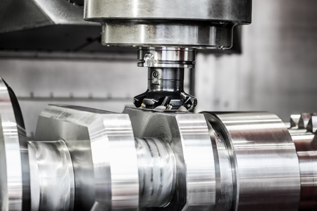 Metalworking CNC milling machine. Cutting metal modern processing technology. Banque d'images