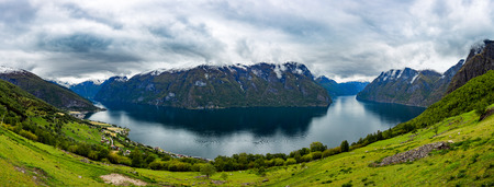 lookout: Beautiful Nature Norway natural landscape. Stegastein Lookout panorama.