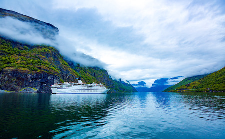fjords: Beautiful Nature Norway natural landscape. Stegastein Lookout. Stock Photo