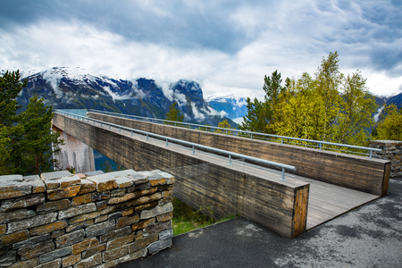 lookout: Stegastein Lookout Beautiful Nature Norway. Stock Photo