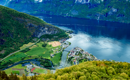 norway: Beautiful Nature Norway natural landscape. Stegastein Lookout. Stock Photo