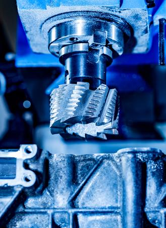 metalworking: Metalworking milling machine. Cutting metal modern processing technology. Stock Photo