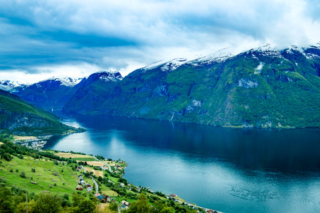 lookout: Beautiful Nature Norway natural landscape. Stegastein Lookout. Stock Photo