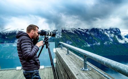 fjords: Nature photographer Stegastein Lookout Beautiful Nature Norway. Stock Photo