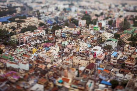 tilt shift: India Birds eye view of Tiruchirappalli (tilt shift lens)