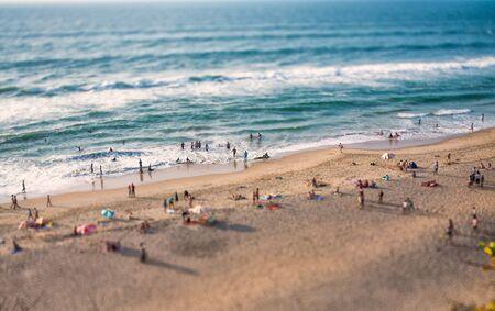 shift: Beach on the Indian Ocean. India (tilt shift lens). Stock Photo