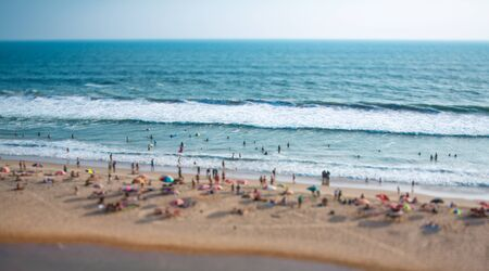 tilt: Beach on the Indian Ocean. India (tilt shift lens). Stock Photo