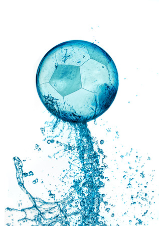 ball on water: Abstract water soccer ball splash isolated on white background. Football abstract concept.
