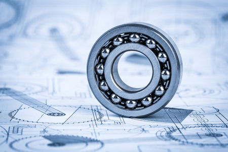 Technical drawings with the bearing in a blue toning