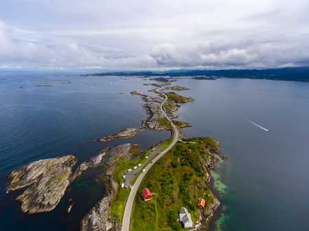 atlantic ocean: Atlantic Ocean Road or the Atlantic Road (Atlanterhavsveien) been awarded the title as Norwegian Construction of the Century. The road classified as a National Tourist Route. Aerial photography Stock Photo