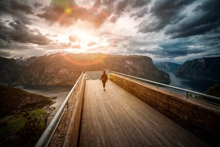 fjords: Stegastein Lookout observation deck view point Beautiful Nature Norway.