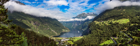 timelapse: Geiranger fjord, Beautiful Nature Norway panorama. It is a 15-kilometre (9.3 mi) long branch off of the Sunnylvsfjorden, which is a branch off of the Storfjorden (Great Fjord).