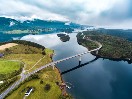 Beautiful Nature Norway natural landscape aerial photography. Stock Photo