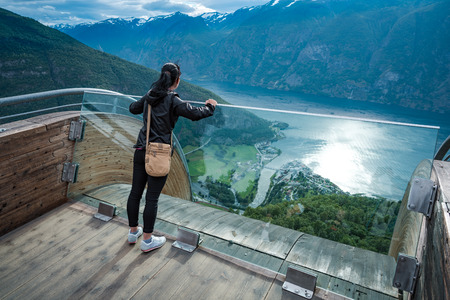 point of view: Stegastein Lookout observation deck view point Beautiful Nature Norway.