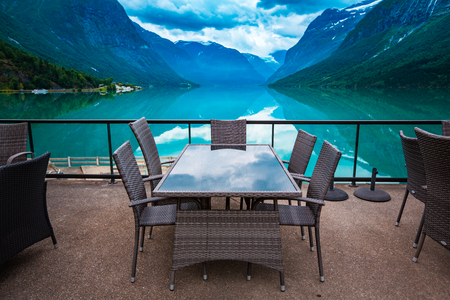fjords: Beautiful Nature Norway natural landscape. Cafe on the nature background