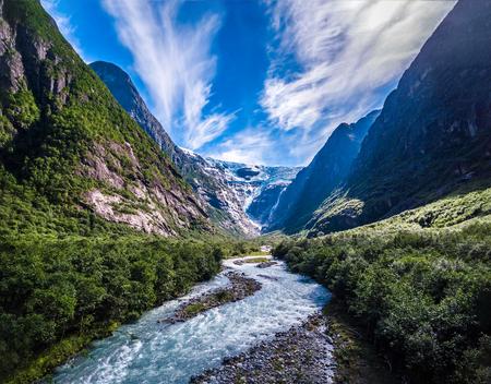 Beautiful Nature Norway natural landscape. Glacier Kjenndalsbreen aerial photography.