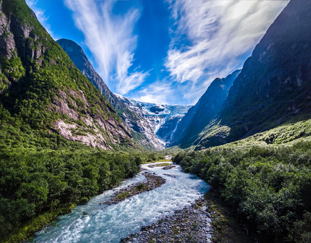 landscape nature: Beautiful Nature Norway natural landscape. Glacier Kjenndalsbreen aerial photography.