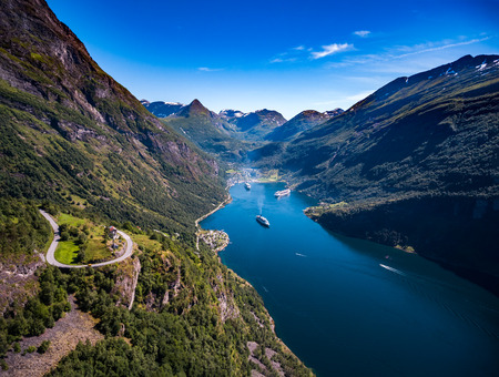 Geiranger fjord, Beautiful Nature Norway aerial photography. . It is a 15-kilometre (9.3 mi) long branch off of the Sunnylvsfjorden, which is a branch off of the Storfjorden (Great Fjord).